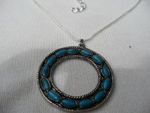 Silver Circle Pendant w/Faux Turquoise Stones on Sterling Chain in Houston, Texas